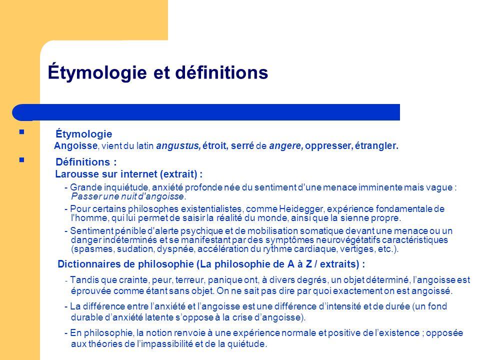 Étymologie et définitions Étymologie Angoisse, vient du latin angustus, étroit, serré de angere, oppresser, étrangler. Définitions : Larousse sur inte