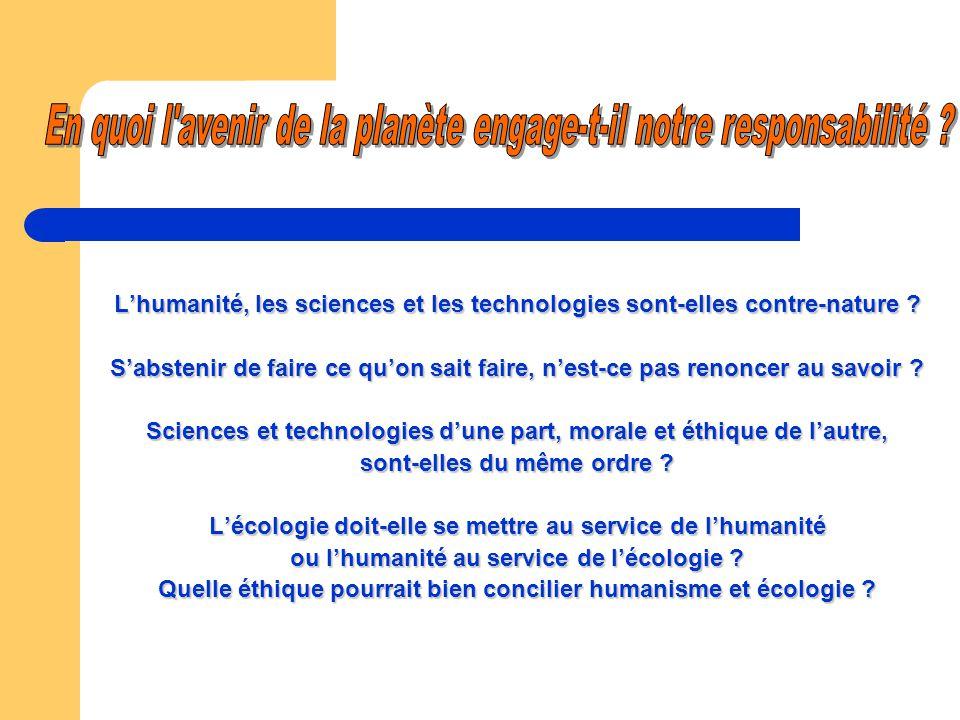 Lhumanité, les sciences et les technologies sont-elles contre-nature .