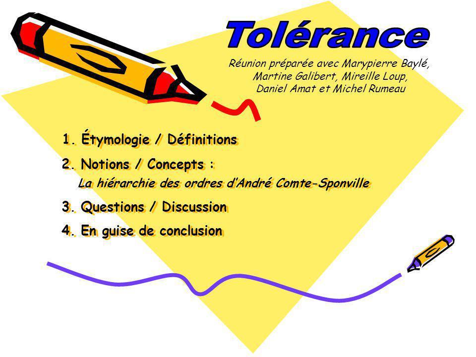Étymologie et définitions Étymologie : Étymologie : Tolérance est issu du latin tolerantia, substantif de tolerare : tolérer, « être indulgent », « supporter »; le mot date du XIVe siècle.