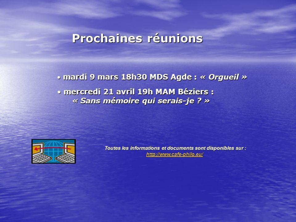 mardi 9 mars 18h30 MDS Agde : « Orgueil » mardi 9 mars 18h30 MDS Agde : « Orgueil » mercredi 21 avril 19h MAM Béziers : mercredi 21 avril 19h MAM Bézi