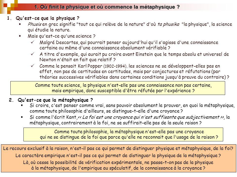 1.Où finit la physique et où commence la métaphysique .