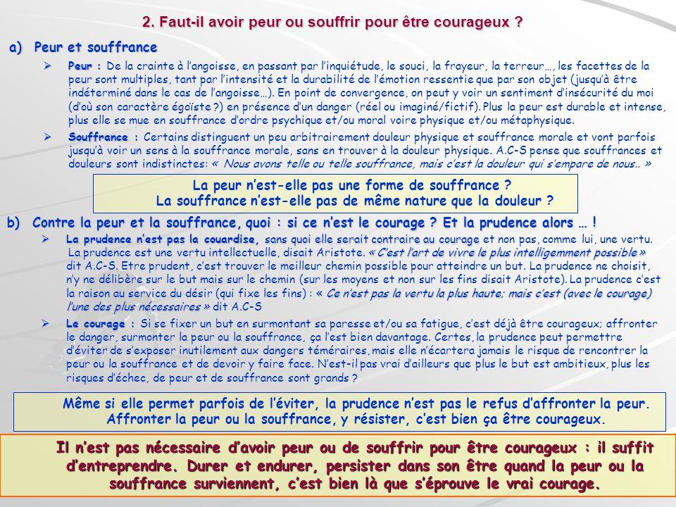 2. Faut-il avoir peur ou souffrir pour être courageux ? a)Peur et souffrance Peur : Peur : De la crainte à langoisse, en passant par linquiétude, le s