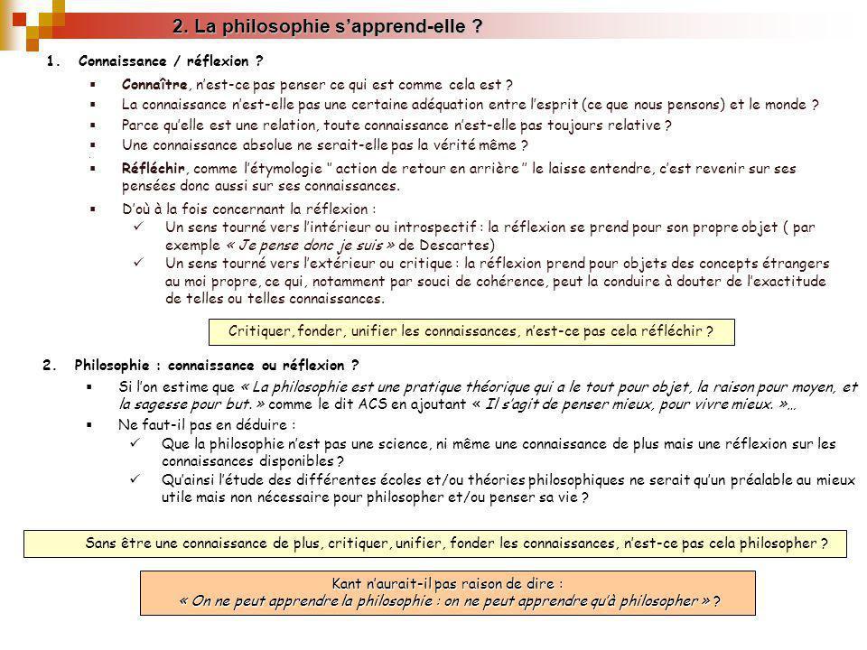 2. La philosophie sapprend-elle ? Kant naurait-il pas raison de dire : « On ne peut apprendre la philosophie : on ne peut apprendre quà philosopher »