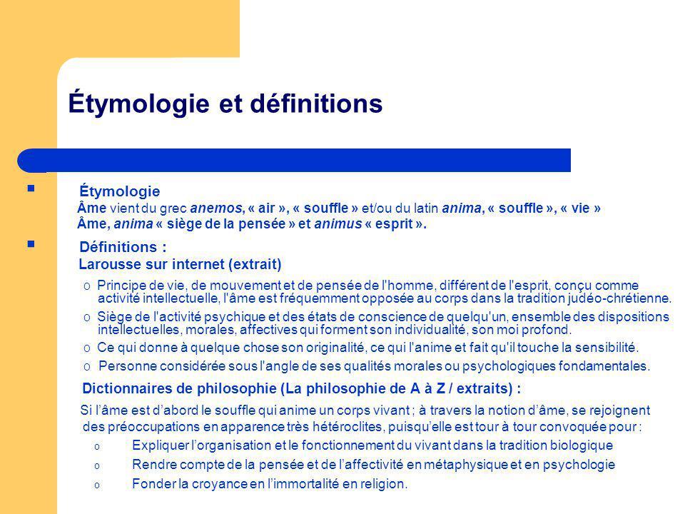 Étymologie et définitions Étymologie Âme vient du grec anemos, « air », « souffle » et/ou du latin anima, « souffle », « vie » Âme, anima « siège de la pensée » et animus « esprit ».