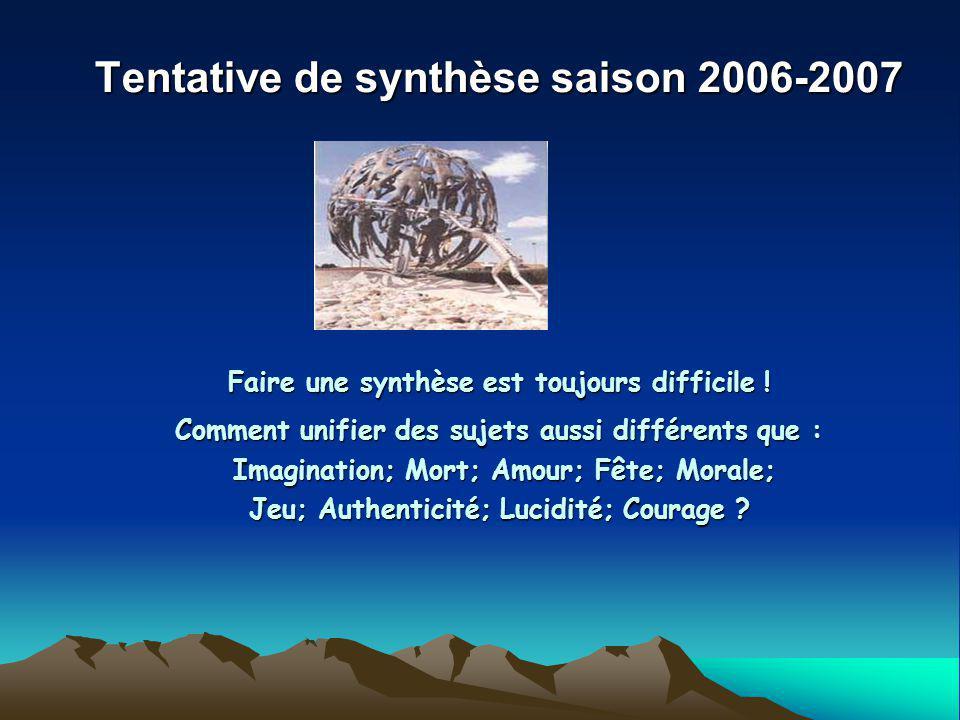 Tentative de synthèse saison 2006-2007 Faire une synthèse est toujours difficile .