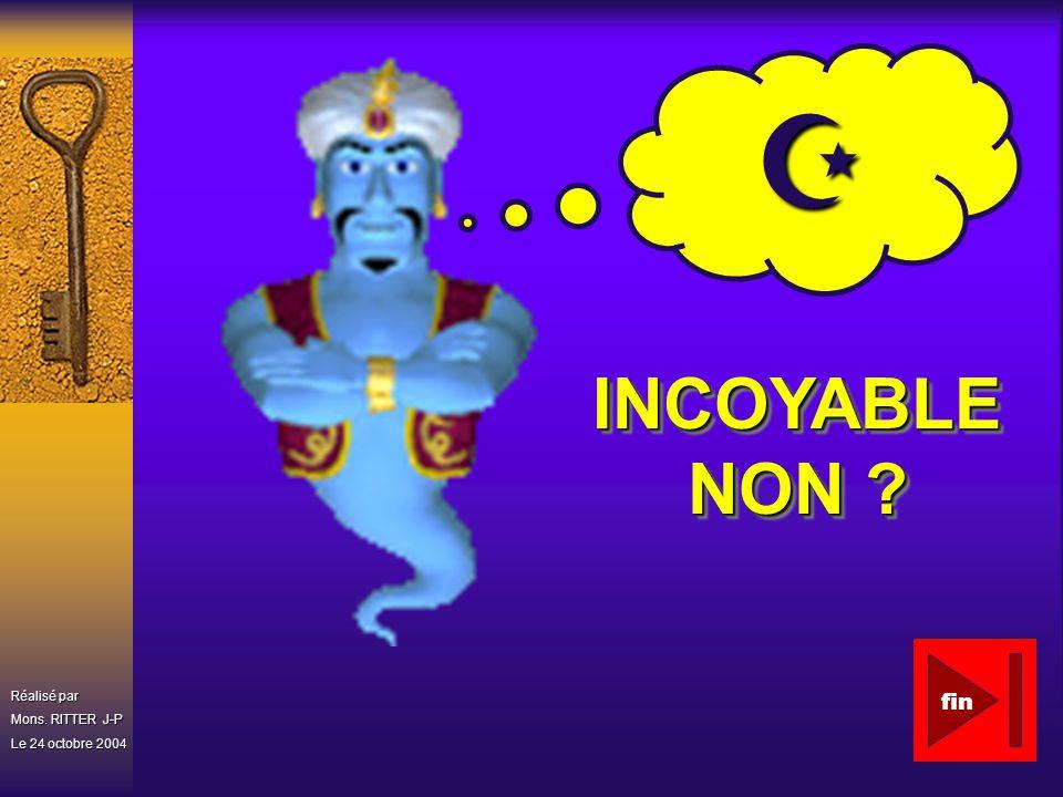 Réalisé par Mons. RITTER J-P Le 24 octobre 2004 INCOYABLE NON ? fin
