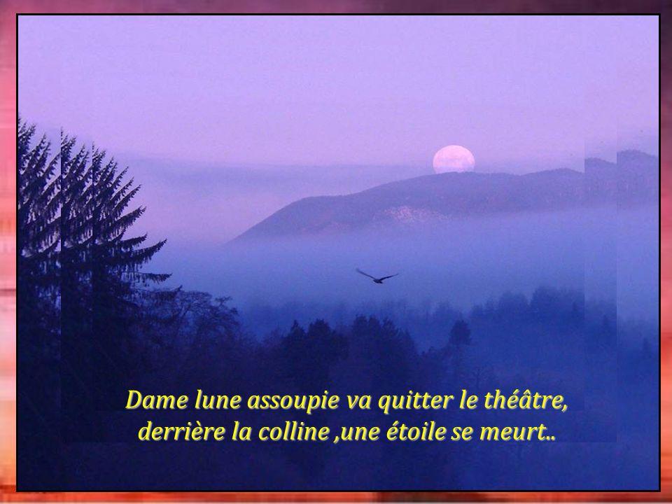 Dame lune assoupie va quitter le théâtre, derrière la colline,une étoile se meurt..