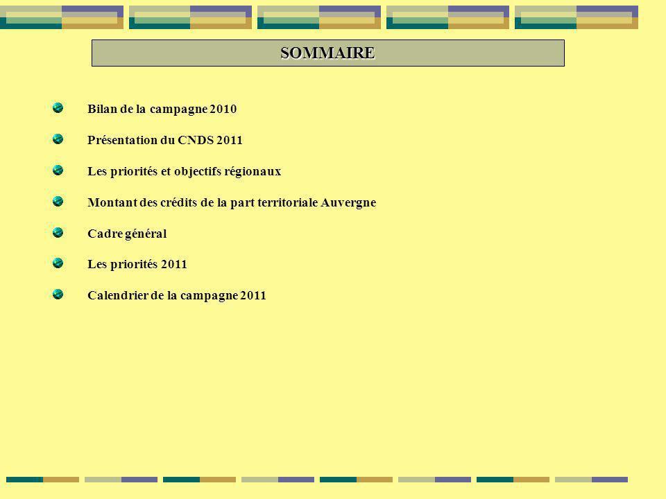 SOMMAIRE Bilan de la campagne 2010 Présentation du CNDS 2011 Les priorités et objectifs régionaux Montant des crédits de la part territoriale Auvergne Cadre général Les priorités 2011 Calendrier de la campagne 2011