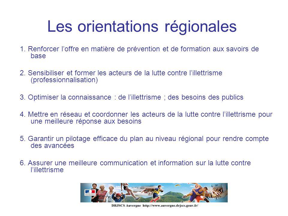 Les orientations régionales 1. Renforcer loffre en matière de prévention et de formation aux savoirs de base 2. Sensibiliser et former les acteurs de