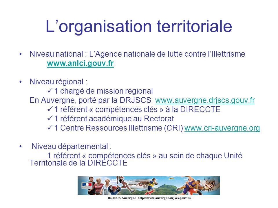 Lorganisation territoriale Niveau national : LAgence nationale de lutte contre lIllettrisme www.anlci.gouv.fr Niveau régional : 1 chargé de mission ré