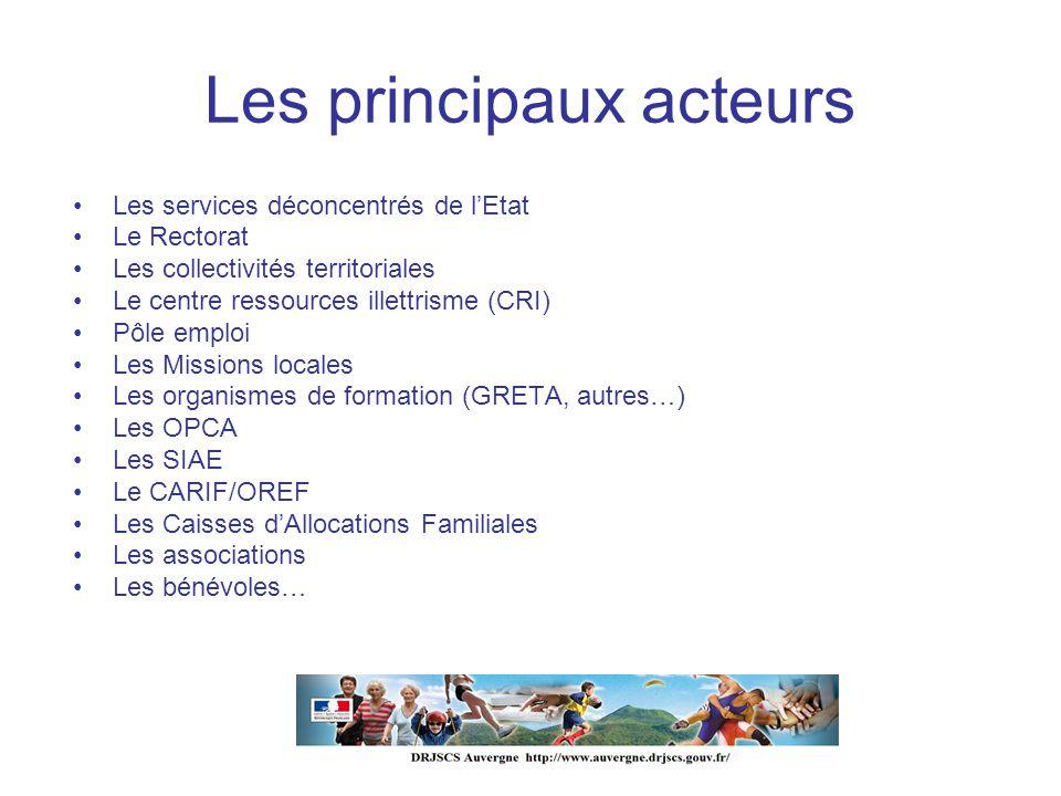 Les principaux acteurs Les services déconcentrés de lEtat Le Rectorat Les collectivités territoriales Le centre ressources illettrisme (CRI) Pôle empl