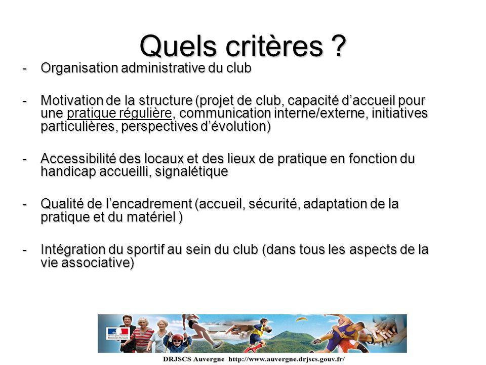 Quels critères ? -Organisation administrative du club -Motivation de la structure (projet de club, capacité daccueil pour une, communication interne/e