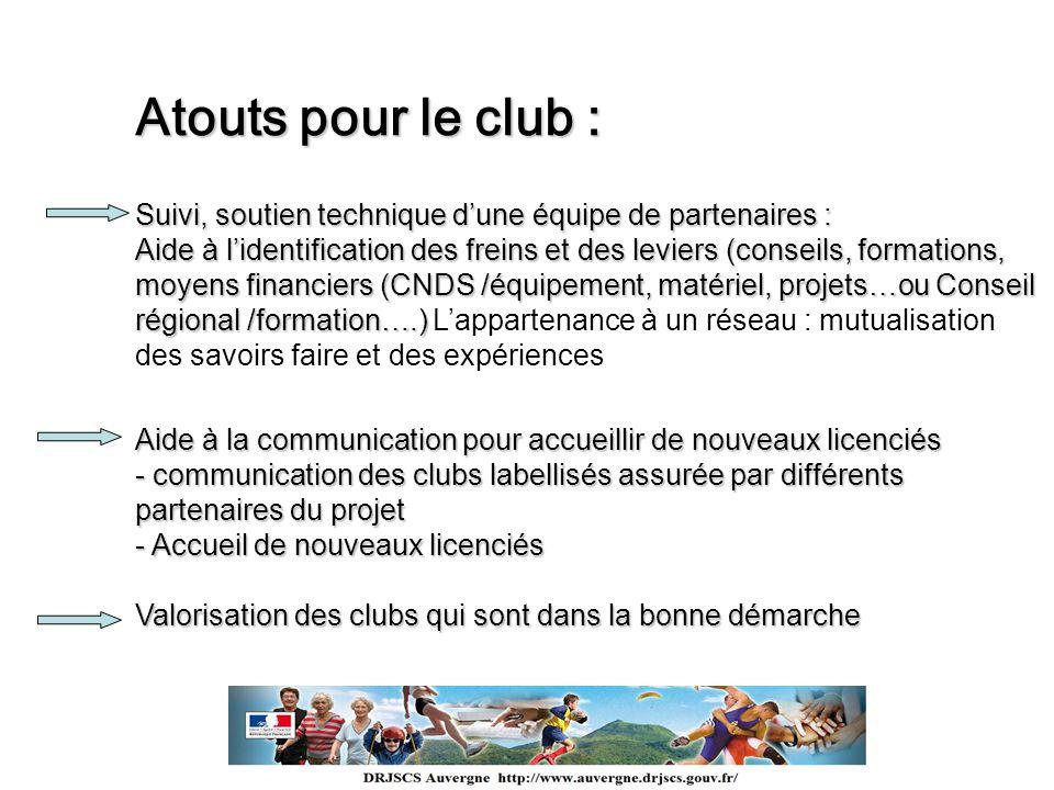 Atouts pour le club : Suivi, soutien technique dune équipe de partenaires : Aide à lidentification des freins et des leviers (conseils, formations, mo