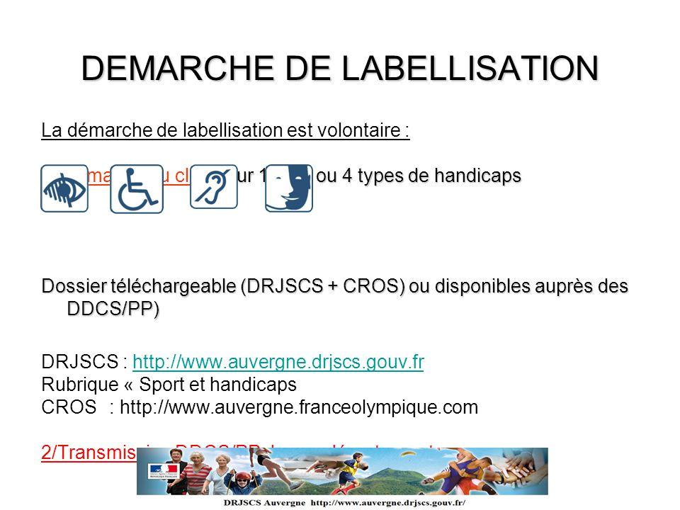 DEMARCHE DE LABELLISATION La démarche de labellisation est volontaire : pour 1, 2, 3 ou 4 types de handicaps 1/ Demande du club pour 1, 2, 3 ou 4 type