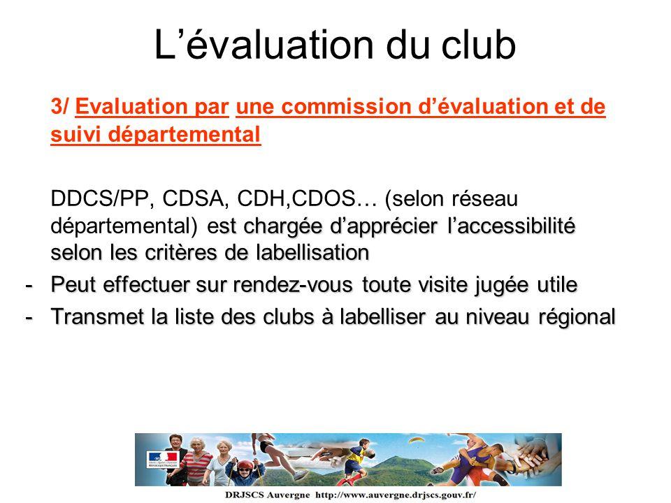 Lévaluation du club 3/ Evaluation par une commission dévaluation et de suivi départemental st chargée dapprécier laccessibilité selon les critères de
