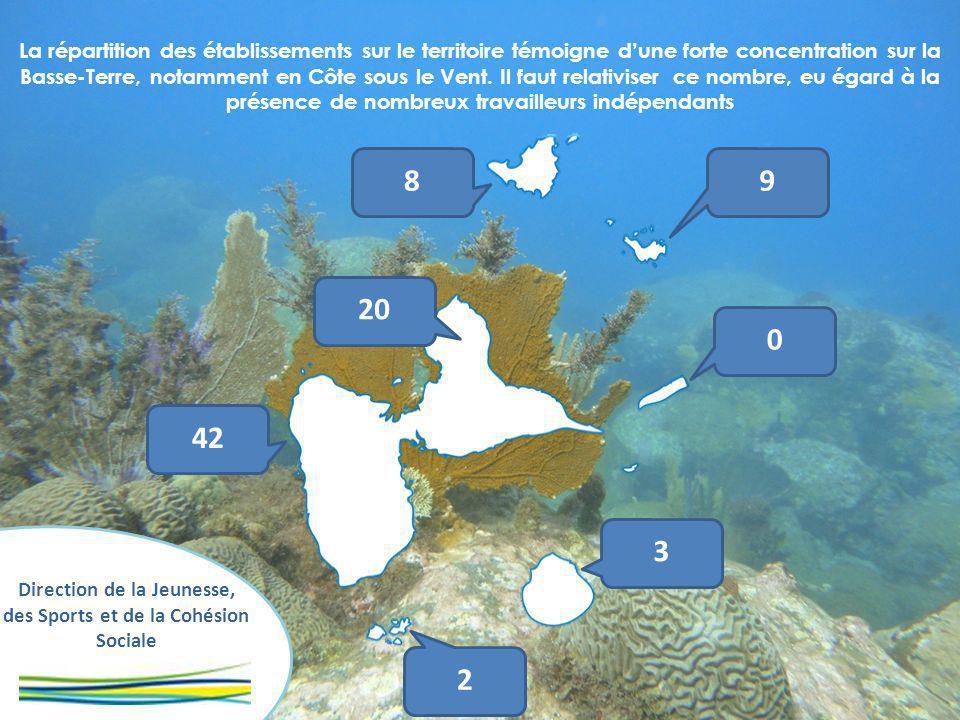 Direction de la Jeunesse, des Sports et de la Cohésion Sociale La répartition des établissements sur le territoire témoigne dune forte concentration sur la Basse-Terre, notamment en Côte sous le Vent.