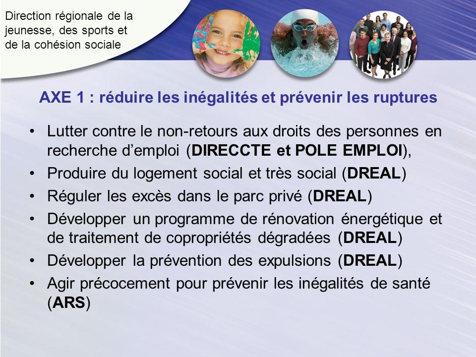Direction régionale de la jeunesse, des sports et de la cohésion sociale AXE 1 : réduire les inégalités et prévenir les ruptures Lutter contre le non-retours aux droits des personnes en recherche demploi (DIRECCTE et POLE EMPLOI), Produire du logement social et très social (DREAL) Réguler les excès dans le parc privé (DREAL) Développer un programme de rénovation énergétique et de traitement de copropriétés dégradées (DREAL) Développer la prévention des expulsions (DREAL) Agir précocement pour prévenir les inégalités de santé (ARS)
