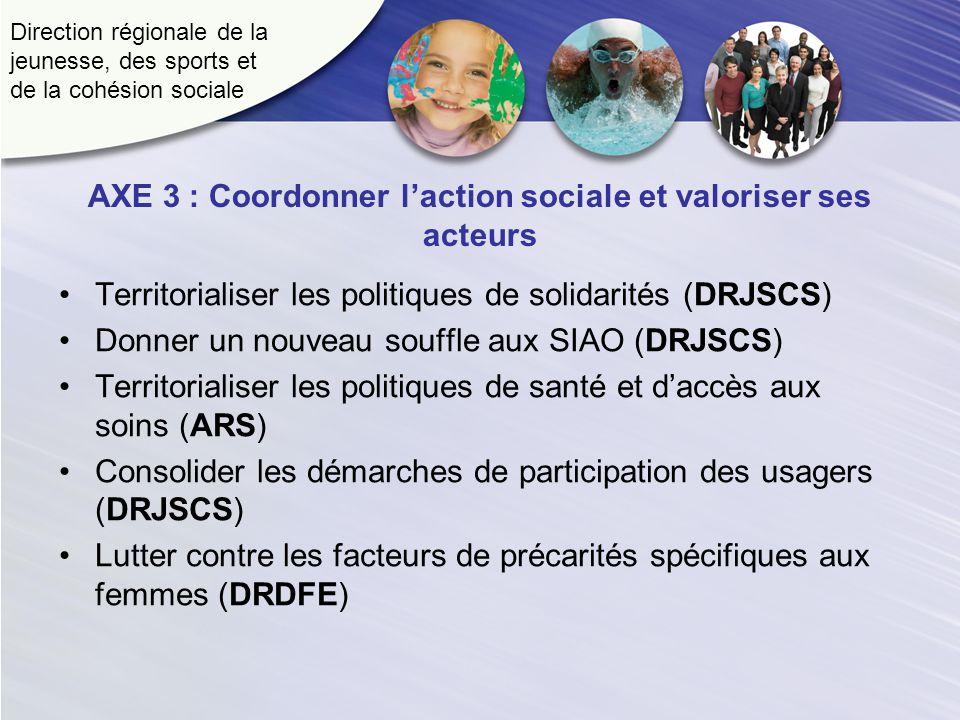 Direction régionale de la jeunesse, des sports et de la cohésion sociale AXE 3 : Coordonner laction sociale et valoriser ses acteurs Territorialiser l