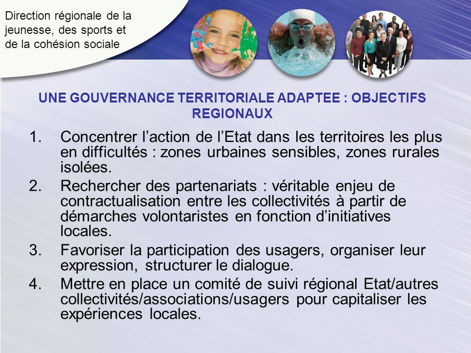 Direction régionale de la jeunesse, des sports et de la cohésion sociale UNE GOUVERNANCE TERRITORIALE ADAPTEE : OBJECTIFS REGIONAUX 1.Concentrer lacti