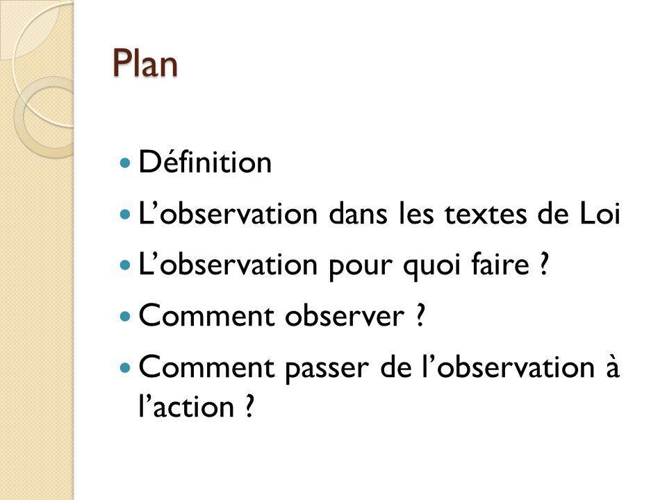 Plan Définition Lobservation dans les textes de Loi Lobservation pour quoi faire ? Comment observer ? Comment passer de lobservation à laction ?