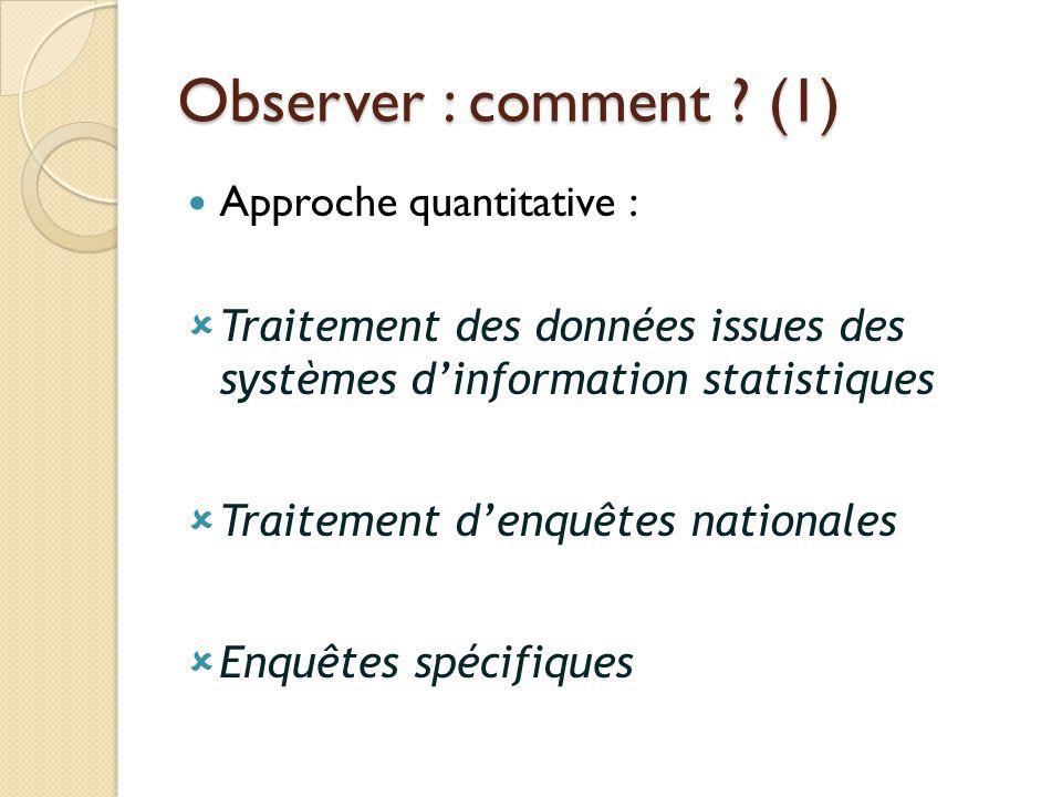 Observer : comment ? (1) Approche quantitative : Traitement des données issues des systèmes dinformation statistiques Traitement denquêtes nationales
