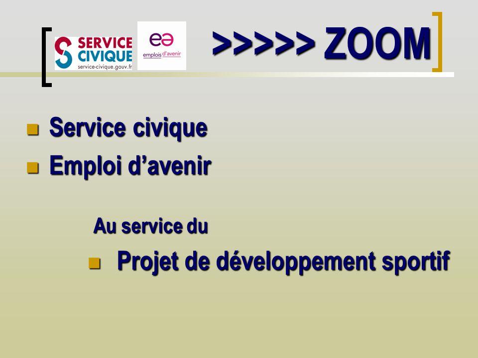 >>>>> ZOOM Service civique Service civique Emploi davenir Emploi davenir Au service du Projet de développement sportif Projet de développement sportif