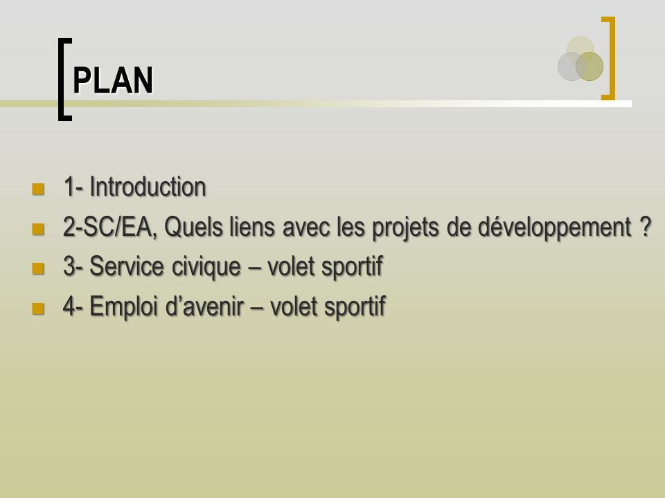 PLAN 1- Introduction 1- Introduction 2-SC/EA, Quels liens avec les projets de développement ? 2-SC/EA, Quels liens avec les projets de développement ?