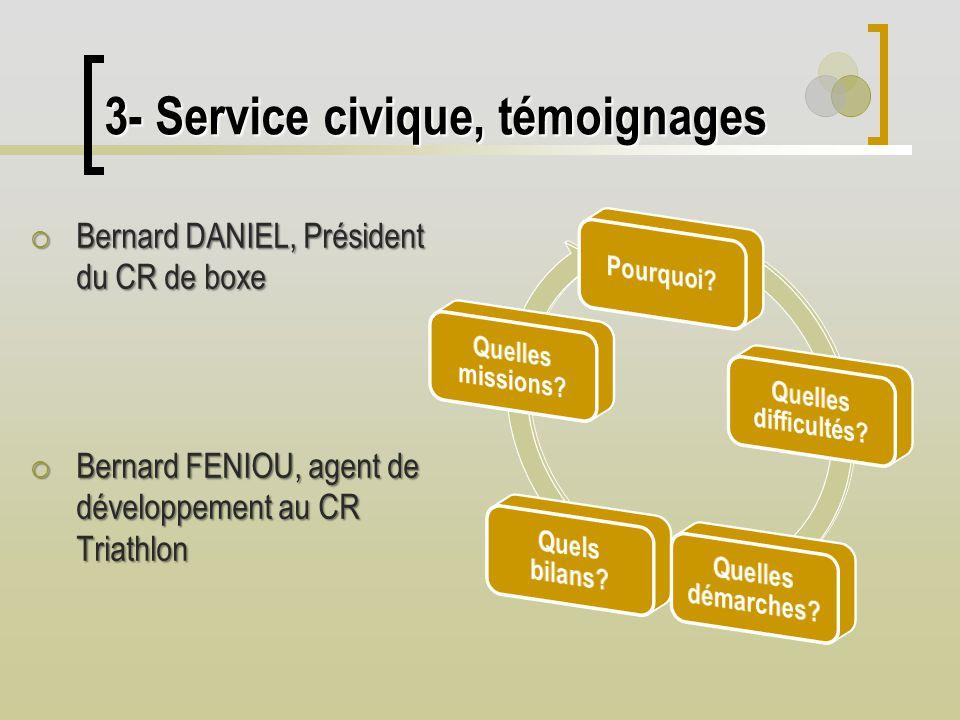 3- Service civique, témoignages Bernard DANIEL, Président du CR de boxe Bernard DANIEL, Président du CR de boxe Bernard FENIOU, agent de développement