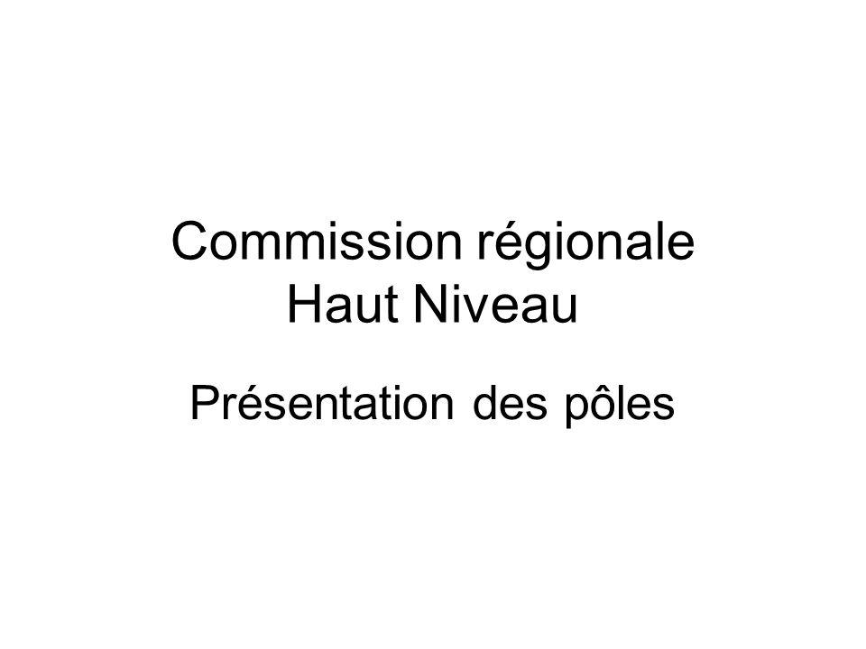 Commission régionale Haut Niveau Présentation des pôles