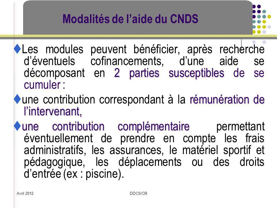 Avril 2012DDCS/CR Modalités de laide du CNDS 2 parties susceptibles Les modules peuvent bénéficier, après recherche déventuels cofinancements, dune ai