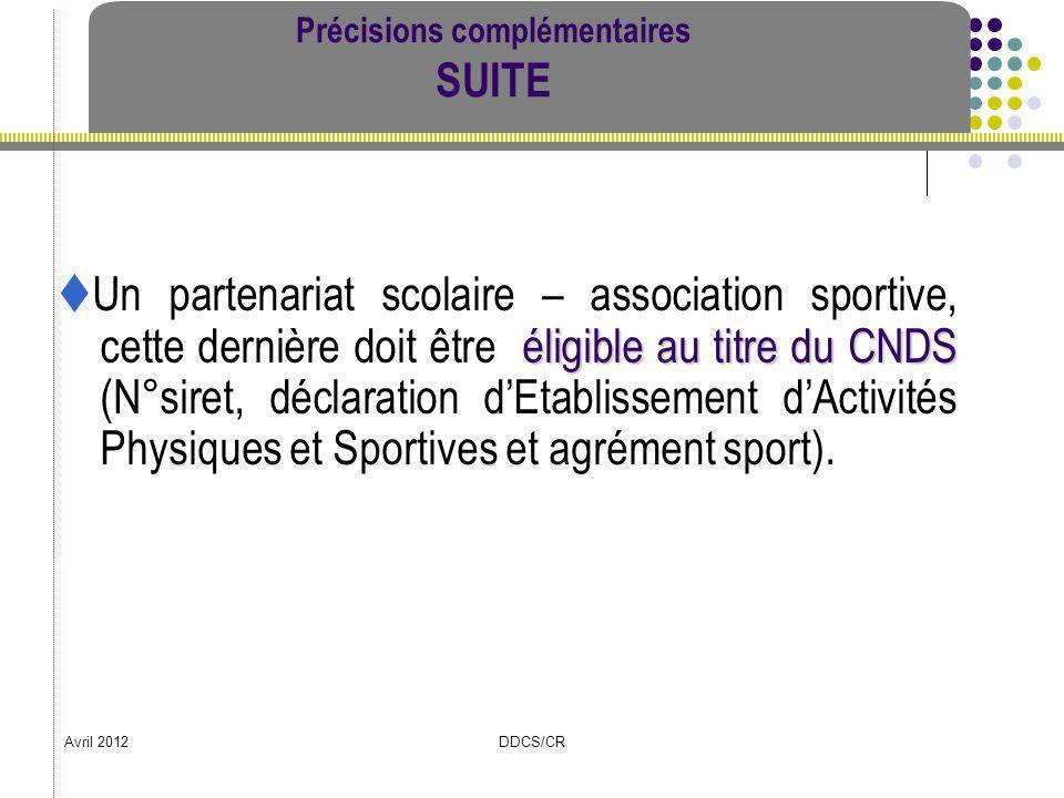 Avril 2012DDCS/CR Précisions complémentaires SUITE éligible au titre du CNDS Un partenariat scolaire – association sportive, cette dernière doit être
