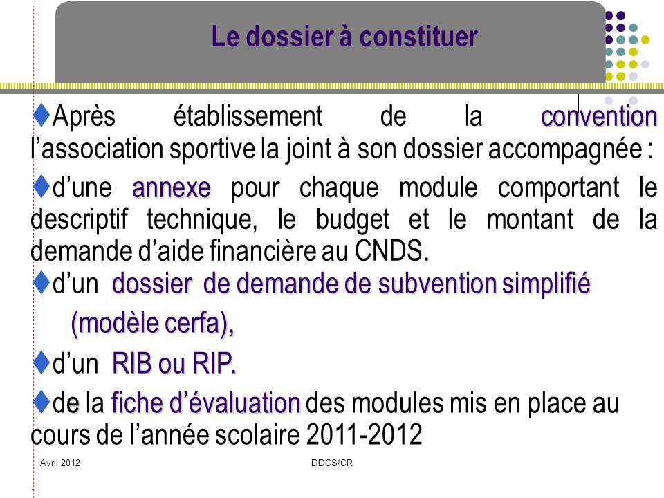 Avril 2012DDCS/CR dossier de demande de subvention simplifié dun dossier de demande de subvention simplifié (modèle cerfa), (modèle cerfa), Le dossier