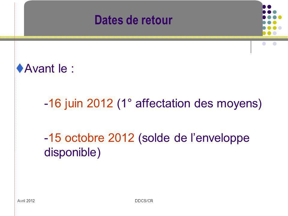 Avril 2012DDCS/CR Dates de retour Avant le : -16 juin 2012 (1° affectation des moyens) -15 octobre 2012 (solde de lenveloppe disponible)