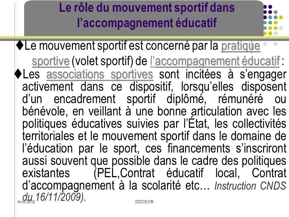 Avril 2012DDCS/CR Le rôle du mouvement sportif dans laccompagnement éducatif associations sportives Les associations sportives sont incitées à sengage