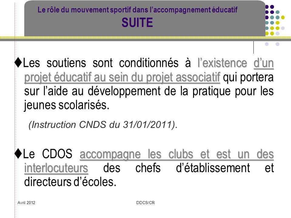 Avril 2012DDCS/CR Le rôle du mouvement sportif dans laccompagnement éducatif SUITE lexistence dun projet éducatif au sein du projet associatif Les sou