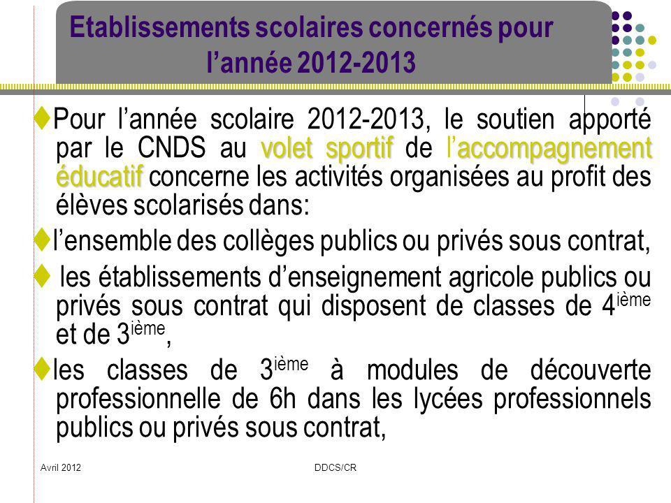 Avril 2012DDCS/CR Etablissements scolaires concernés pour lannée 2012-2013 volet sportifaccompagnement éducatif Pour lannée scolaire 2012-2013, le sou
