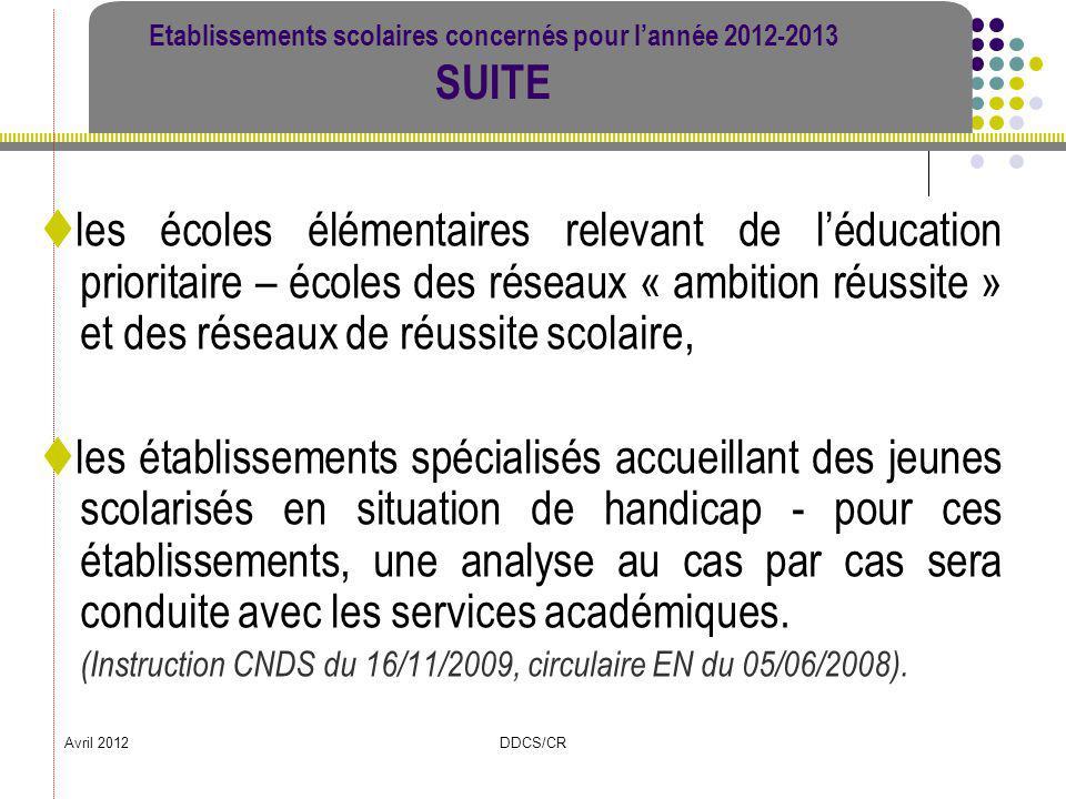 Avril 2012DDCS/CR Etablissements scolaires concernés pour lannée 2012-2013 SUITE les écoles élémentaires relevant de léducation prioritaire – écoles d