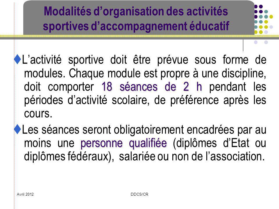 Avril 2012DDCS/CR Modalités dorganisation des activités sportives daccompagnement éducatif 18 séances de 2 h Lactivité sportive doit être prévue sous