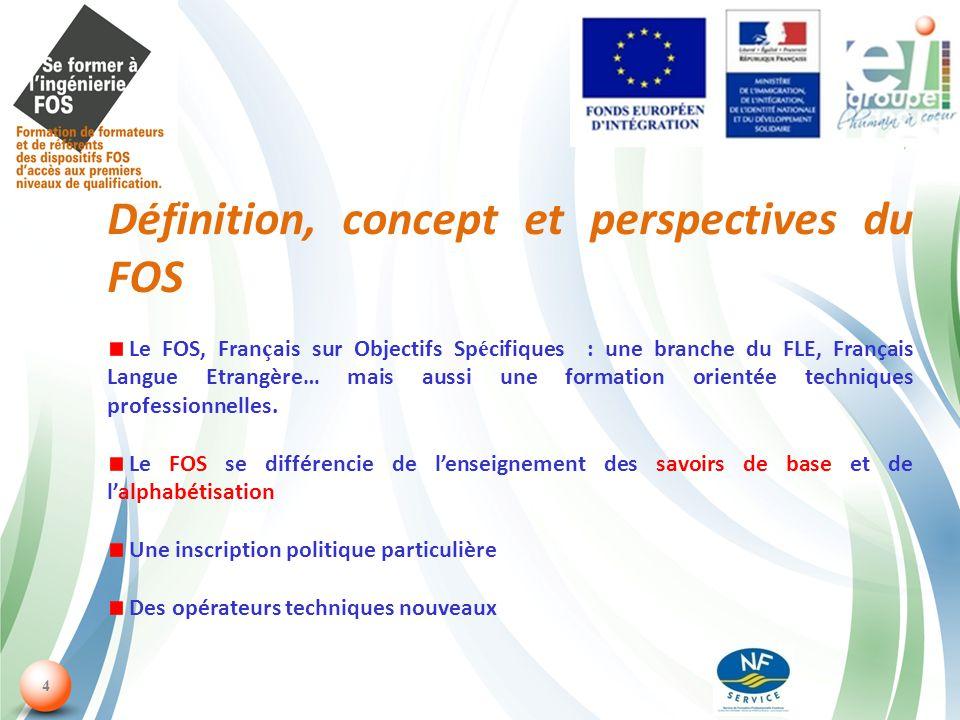 4 Définition, concept et perspectives du FOS Le FOS, Fran ç ais sur Objectifs Sp é cifiques : une branche du FLE, Français Langue Etrangère… mais aussi une formation orientée techniques professionnelles.