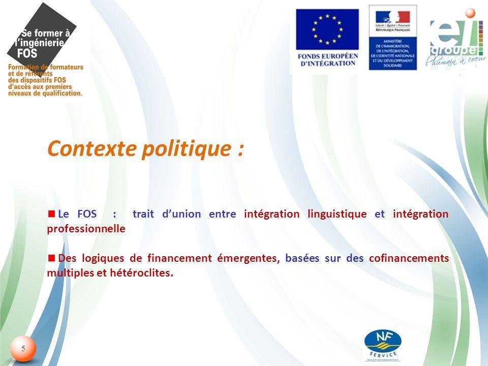 5 Contexte politique : Le FOS : trait dunion entre intégration linguistique et intégration professionnelle Des logiques de financement émergentes, basées sur des cofinancements multiples et hétéroclites.