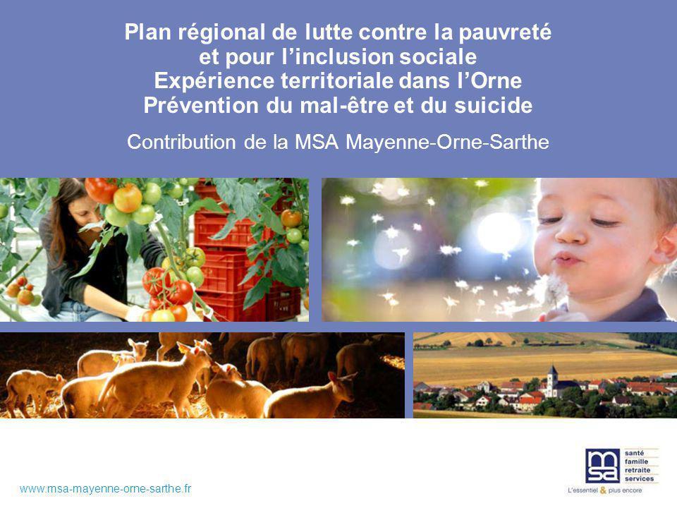 www.msa-mayenne-orne-sarthe.fr Plan régional de lutte contre la pauvreté et pour linclusion sociale Expérience territoriale dans lOrne Prévention du mal-être et du suicide Contribution de la MSA Mayenne-Orne-Sarthe