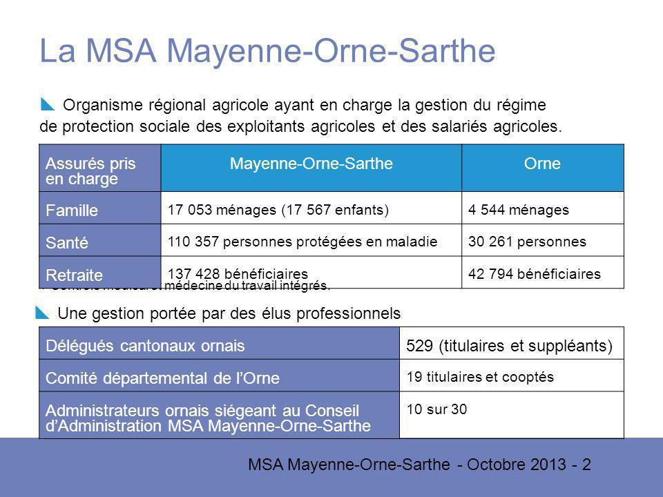 MSA Mayenne-Orne-Sarthe - Octobre 2013 - 2 La MSA Mayenne-Orne-Sarthe Organisme régional agricole ayant en charge la gestion du régime de protection sociale des exploitants agricoles et des salariés agricoles.