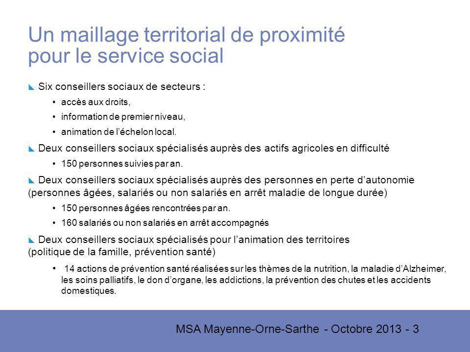 MSA Mayenne-Orne-Sarthe - Octobre 2013 - 3 Un maillage territorial de proximité pour le service social Six conseillers sociaux de secteurs : accès aux droits, information de premier niveau, animation de léchelon local.