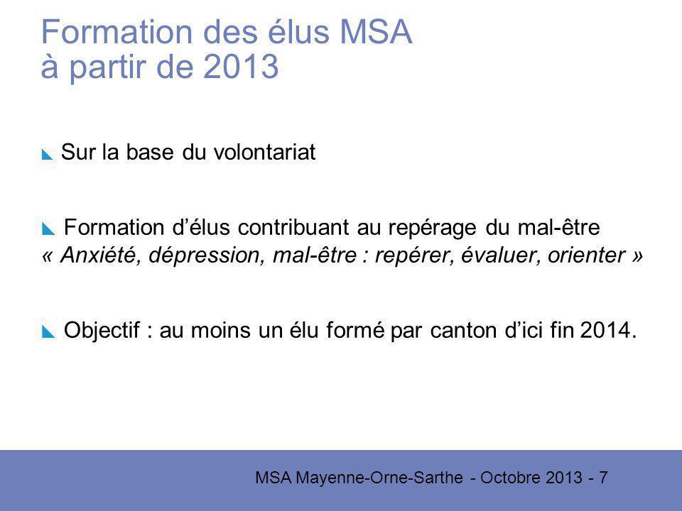MSA Mayenne-Orne-Sarthe - Octobre 2013 - 7 Formation des élus MSA à partir de 2013 Sur la base du volontariat Formation délus contribuant au repérage du mal-être « Anxiété, dépression, mal-être : repérer, évaluer, orienter » Objectif : au moins un élu formé par canton dici fin 2014.