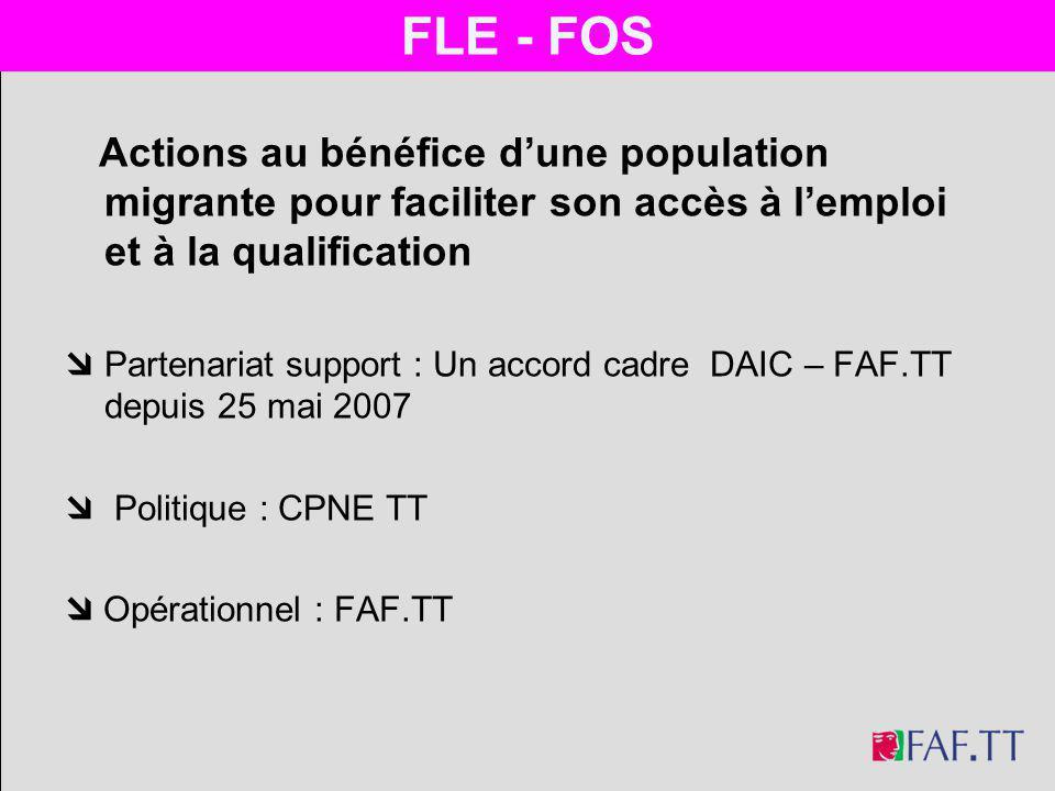 Actions au bénéfice dune population migrante pour faciliter son accès à lemploi et à la qualification Partenariat support : Un accord cadre DAIC – FAF.TT depuis 25 mai 2007 Politique : CPNE TT Opérationnel : FAF.TT FLE - FOS