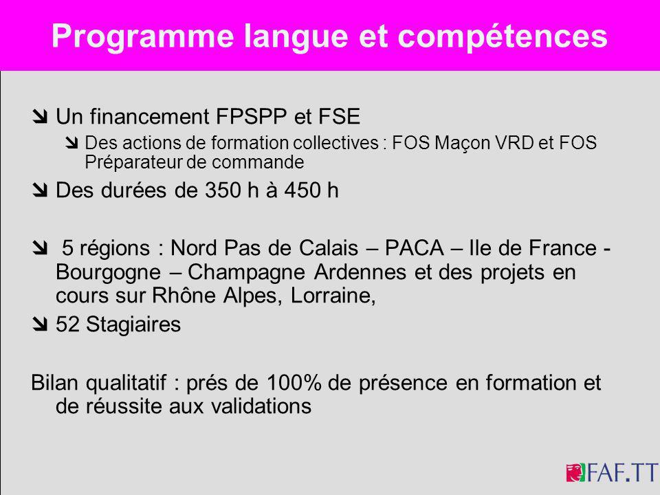 Un financement FPSPP et FSE Des actions de formation collectives : FOS Maçon VRD et FOS Préparateur de commande Des durées de 350 h à 450 h 5 régions
