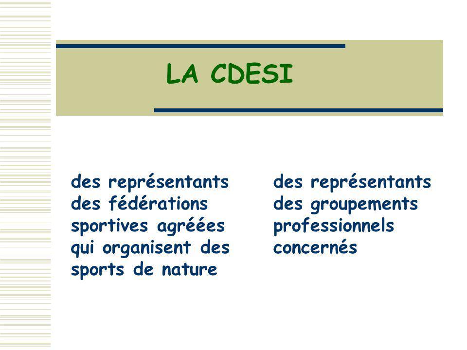 LA CDESI des représentants des fédérations sportives agréées qui organisent des sports de nature des représentants des groupements professionnels conc