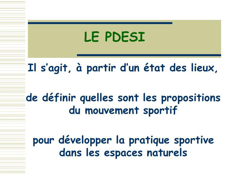 LE PDESI Il sagit, à partir dun état des lieux, de définir quelles sont les propositions du mouvement sportif pour développer la pratique sportive dans les espaces naturels