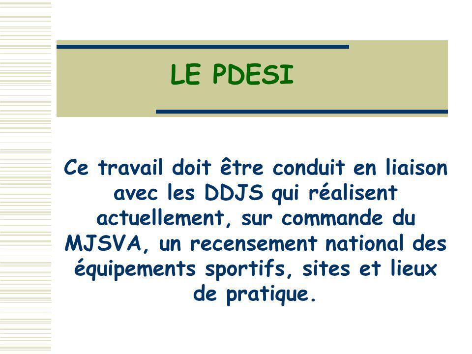 LE PDESI Ce travail doit être conduit en liaison avec les DDJS qui réalisent actuellement, sur commande du MJSVA, un recensement national des équipements sportifs, sites et lieux de pratique.