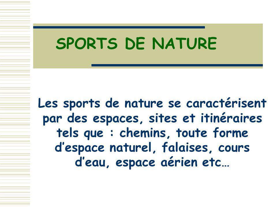 SPORTS DE NATURE Les sports de nature se caractérisent par des espaces, sites et itinéraires tels que : chemins, toute forme despace naturel, falaises, cours deau, espace aérien etc…